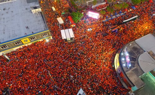The Orange Party in Half Way Tree. (Photo: PNP/Twitter)
