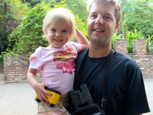 Our youngest birdwatcher with her very own yellow binoculars. (My photo)