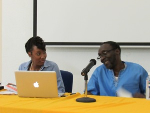 """Dr. Adwoa Onuora and her cousin Owen """"Blakka"""" Ellis at the book launch. (My photo)"""