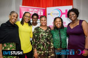 (l-r) Judith Wedderburn, 51% Coalition; Rochelle McFee and Latoya Nugent, WE-Change; Taitu Heron, UN Women; Nicolette Bryan, WE-Change; Nadeen Spence, Young Women's Leadership Initiative/Mary Seacole Hall. (Photo: WE-Change)