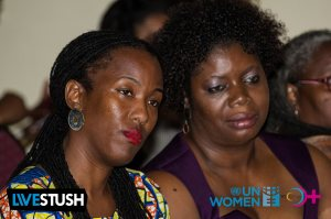 Thoughtful: Tonni Ann Brodber, Deputy Representative at UN Women Caribbean and Nadeen Spence of the Young Women's Leadership Initiative at the event. (Photo: WE-Change)