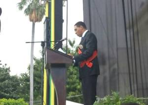 Prime Minister Andrew Holness makes his inaugural speech at King's House this afternoon. (Photo: TVJ/Facebook)