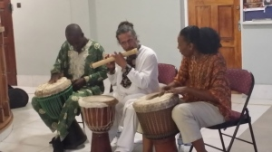 "The Akwaaba drummers gave a fiery performance at the launch of ""The Pain Tree."""
