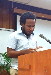 "Award-winning poet Vladimir Lucien read from his ""Sounding Ground"" in his lovely lilting St. Lucia accent."