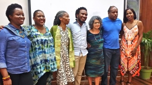 Beautiful people: (l-r) Latoya West-Blackwood, BIAJ; Tanya Shirley, poet/UWI; A-dZiko Simba Gegele, writer; Vladimir Lucien, poet; Olive Senior, writer/poet; Mel Cooke, poet; and Kellie Magnus, writer and KBF chair.