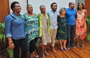 A lineup of creatives at the Kingston Book Festival: (l-r) Latoya West-Blackwood, iPublish Consultancy; poet Tanya Shirley, Department of Literatures in English, UWI; award-winning writer A-dZiko Simba Gegele; St. Lucian poet and Writer in Residence, UWI Vladimir Lucien; writer and poet Olive Senior, who launched her latest book this week; poet Mel Cooke; and children's book writer/publisher Kellie Magnus. (My photo)
