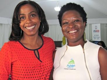 Happy smiles: The two brilliant women behind the Kingston Book Festival, Kellie Magnus (left) and Latoya West-Blackwood.