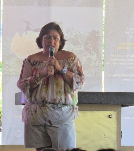 Judith Castro spoke passionately about her home, Cabo Pulmo in Mexico, and the community that was transformed by completely giving up fishing and turning to eco-tourism. (My photo)