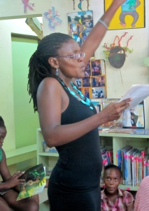 Publisher and children's book writer Tanya Batson-Savage gives an energetic reading at Trench Town Reading Centre. The children loved every minute of it! (My photo)