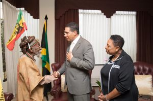 "Prime Minister Andrew Holness and Culture Minister Olivia Grange met with members of the Rastafarian community, who visited him at Jamaica House this week. PM Holness noted on his Facebook page:""Yesterday I along with Minister Henry and Minister Grange met with members of the Rastafarian community. We recognize the importance of dialogue with the Rastafarian community as we seek to provide representation for all Jamaicans."""