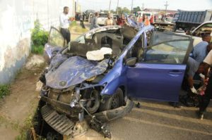 A car crash on Spanish Town Road in Kingston earlier this year, in which three people were killed. The police said speeding was the cause of the accident. (Photo: Jamaica Observer)