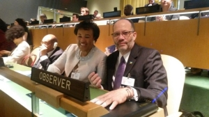 CARICOM Secretary-General Ambassador Irwin LaRocque (right) and Commonwealth Secretary-General Baroness Patricia Scotland (born in Dominica) at the Special Signing Ceremony for the Paris Climate Change Agreement at UN Headquarters on Earth Day, April 22, 2016. (Photo: CARICOM)