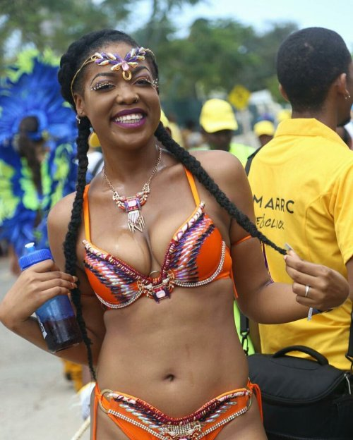 A happy Jamaica Carnival reveler. (Photo: Twitter)