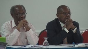 Chair of the Regional Coordinating Committee on Climate Change (RCCC) and Minister of Sustainable Development in St. Lucia Dr. Jimmy Fletcher (right) and Executive Director of the Caribbean Community Climate Change Centre (CCCCC) Dr. Kenrick Leslie. (Photo: CARICOM)