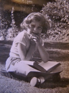Me and a book. I am not sure how old I am in this photo - maybe about ten years old.