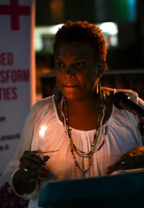 Remembering Rwanda: Candlelight at Mary Seacole Hall. (Photo: Jean-Pierre Kavanaugh)