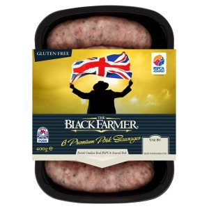 The Black Farmer brand pork sausages - unabashedly British, and I suspect rather yummy. Bangers and mash, anyone?