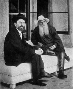 Anton Chekhov (left) and Leo Tolstoy, hanging out in 1900.