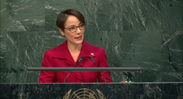 Minister of Foreign Affairs and Foreign Trade Senator Kamina Johnson Smith addressing the Special Session of the UN General Assembly yesterday. (Photo: Ministry of Foreign Affairs and Foreign Trade)