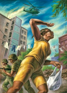 """Marjorie Hinds was out buying food in Tivoli Gardens on the morning of May 24, 2010, when the security forces moved in."" Illustration by Owen Smith, The New Yorker. This accompanied an article by December 11, 2011 article by Mattathias Schwartz, headlined ""A Massacre in Jamaica."""
