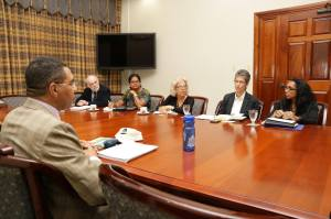 Prime Minister Andrew Holness met with representatives of environmental NGOs on Friday. I notice JET's Diana McCaulay brought gifts (Nuh Dutty Up Jamaica)! (Photo: PM Andrew Holness/Facebook)