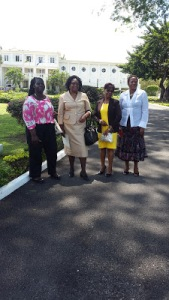 GraceKennedy 2015 Household Workers of the Year arrive at King's House with Shirley Pryce (2nd left), President of the  Jamaica Household Workers Union.