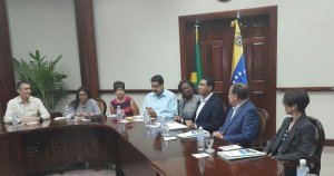 Sunday morning meeting at Jamaica House with President Maduro. (Photo: Andrew Holness Twitter)