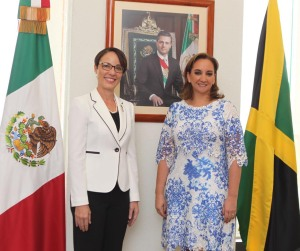 Senator the Honourable, Kamina Johnson Smith, Minister of Foreign Affairs and Foreign Trade also visited Mexico City (May 17-18), where she signed a Jamaica-Mexico Agreement on the Avoidance of Double Taxation and the Prevention of Fiscal Evasion with respect to Income Tax. Also signed was an MOU on the establishment of a Mexican Chair at UWI and the renewal of the collaboration agreement between the National Autonomous University of Mexico and UWI. Here she is with the Mexican Foreign Minister, Claudia Ruiz Massieu. The meeting of the Joint Commission coincided with the celebration of the 50th Anniversary of the establishment of Diplomatic Relations between Jamaica and Mexico. (Photo: Ministry of Foreign Affairs and Foreign Trade)