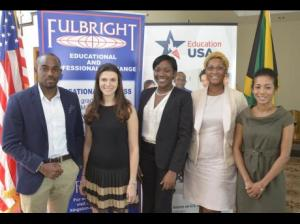 Recipients of the Fullbright scholarship pose with Rebecca Molinoff (second left), acting public affairs officer at the United States Embassy in July, 2015. From left are Kersen Stephens, Patrice Anderson, Kadian Birch and Alecia Nepaul. (Photo: U.S. Embassy)