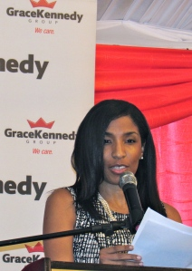 Managing Director of The LAB Kimala Bennett (a self-appointed menthe of Mr. Orane) was guest speaker at the book launch. (My photo)