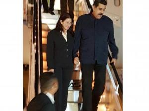 Venezuelan president Nicholas Maduro and his wife Cilia Flores Maduro descend the stairs on arrival on a flight from Caracas Saturday night - Contributed photo/Gleaner