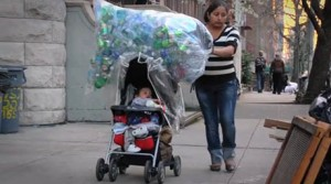 Collecting plastic bottles in New York City. (Photo: ediblegeography.com)