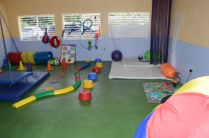 The gym at Early Stimualtion Centre of Excellence - Mickhail Betancourt Building retrofitted with specialised resources to aid in developing the motor skills of students with special needs.