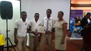 Bridgeport High School, winners of the Creative Arts Award, with Katalyxt's Winsome Minott.