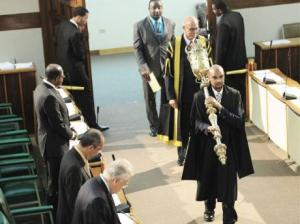 The ceremonial mace, carried into Parliament by the Marshal at the Opening of Parliament, is a symbol of the Queen's authority. (Photo: Gleaner)