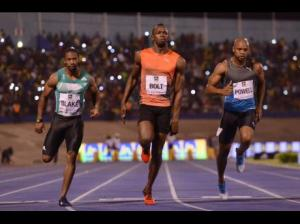Yes, of course - we all love Usain. Here he is at the National Stadium in Kingston in June this year, winning another race ahead of Nickel Ashmeade (2nd) and Yohan Blake (3rd). (Photo: Ricardo Makyn/Gleaner)