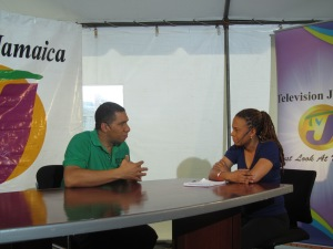 Broadcast journalist Dionne Jackson Miller interviewing Andrew Holness back in 2013, as Opposition Leader. (Photo: newsandviewsbydjmiller.wordpress.com)