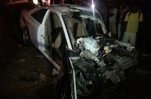 The wrecked Honda Civic motor car that was involved in a crash along the Llandovery main road in St Ann on Tuesday night. (Photo: Jamaica Observer)