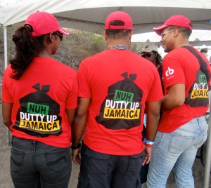 Let's clean up Jamaica! Workers at the International Coastal Cleanup Day initiative organized by Jamaica Environment Trust in September, 2015. (My photo)
