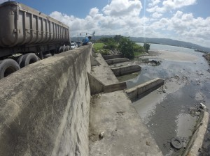 The mouth of the South Gully, which empties into the Montego Bay harbor in the vicinity of the Pier One complex. (Photo: Jamaica Environment Trust)
