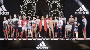 The British uniform looks like Brexit - can't make up its mind what it is. Is that the Union Jack motif, or what? (Photo: Adidas)