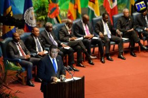 Prime Minister Andrew Holness at the opening ceremony of the 37th regular meeting of the conference of the Heads of Government of the Caribbean Community (CARICOM) in Georgetown Guyana. (Photo: Jamaica Information Service)
