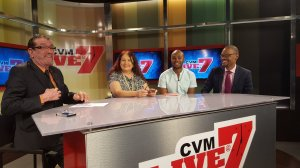 (l-r) Host Simon Crosskill, me, Jaevion Nelson and Raymond Pryce on the set of CVM Television's Live at Seven last night. Check in next Friday at 7 pm for another review session with us!