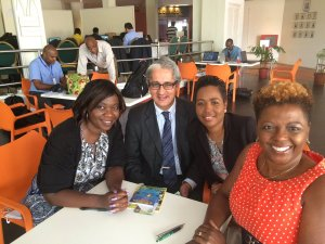 (left to right): Jacqueline Charles of the Miami Herald; Executive Director, Commonwealth Businesswomen Network Arif Zaman; Valrie Grant and Cecile Watson get together. (Photo: Twitter)