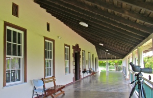 The front verandah of Seville Great House in St. Ann. (My photo)
