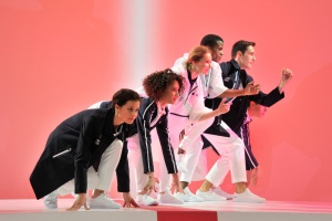 A group of dancers showed off the Olympic collection by Lacoste. (Photo: Dominique Maitre).