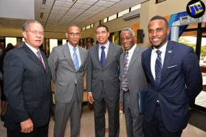 Where are the women in this picture? Prime Minister Andrew Holness (centre) with (from left): Mr Bruce Golding, former Prime Minister and newly appointed Chairman of CARICOM Review Commission, Damien King, Economist, Professor Alvin Wint, and Andre Mariott-Blake, CARICOM Youth Ambassador. The Prime Minister launched the Commission on June 28 at the Office of the Prime Minister. (Photo: JIS)