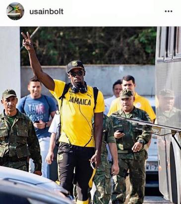 Our superstar sprinter Usain Bolt goes everywhere with a bunch of security guards at the Rio Olympics. He did not attend the Opening Ceremony, apparently for security reasons.