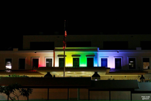 "The U.S. Embassy looked gorgeous, lit up for PRIDE Week in Jamaica. The caption was: ""During #PRiDEJA2016, we reaffirm our American values of equality and non-discriminatory citizenship for all. These are core principles shared by all democracies."""
