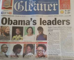 "The front page of today's Gleaner, ""bigging up"" the eight Jamaicans who will go on the Young Leaders of Americas Initiative in October."